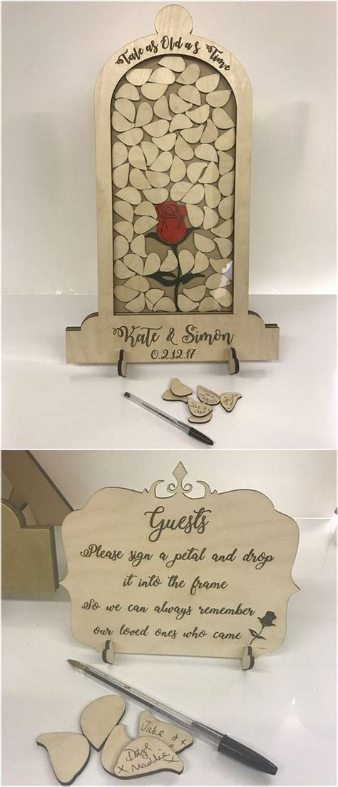 top  rustic framed wooden wedding guest books roses