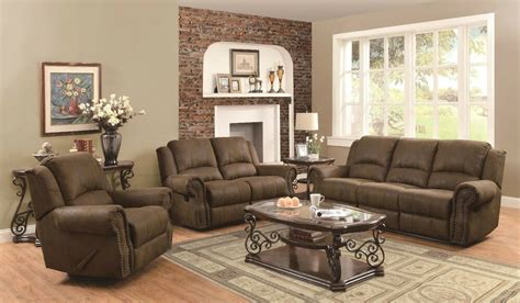 Reclining Sofa Loveseat Sets by Traditional 3p Reclining Sofa Loveseat Chair With Nailhead