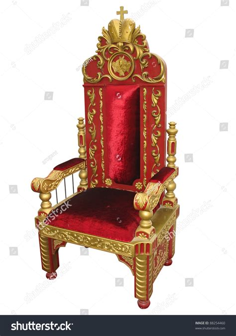 Vacant Chair by Royal King Red And Golden Throne Chair Isolated Over White