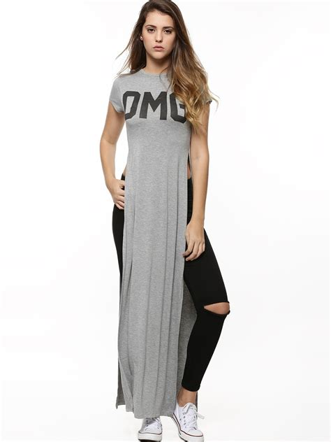 Buy Koovs Omg Slogan Maxi Top For Women  Women's Grey