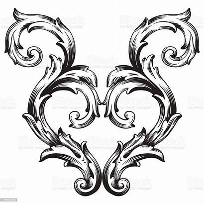 Scroll Frame Ornament Baroque Engraving Pattern Border