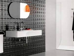 carrelage de salle de bains 57 idees pour les murs et le sol With salle de bain design avec décoration murale en relief