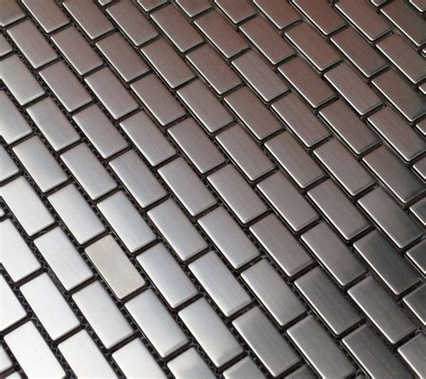 mini brick metal mosaic stainless steel 5 8 x 1 2 8 quot tiles
