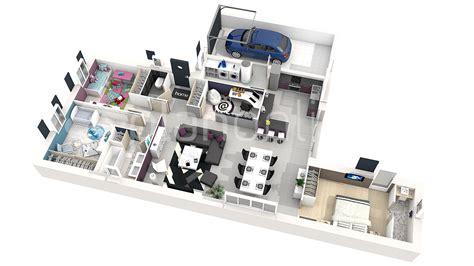 charmant plan de maison 4 chambres gratuit 4 3d 360176 plan 3d plan 2d evtod