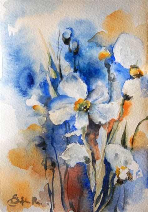 abstract floral original watercolor painting abstract