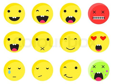 yellow  smile emoji set emoticon stock vector