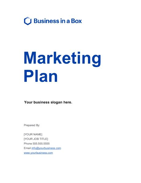 marketing plan template word   business   box