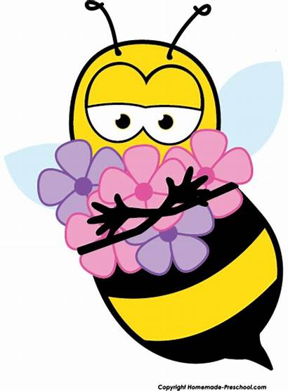 Bee Clipart Flower Clip Beehive Bumble Smelling