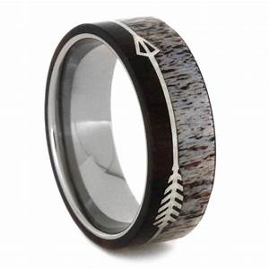 titanium wedding band with deer antler and ironwood With deer wedding rings
