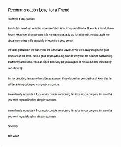 personal letter of recommendation for a friend examples free 9 sample recommendation letter for a friend in pdf