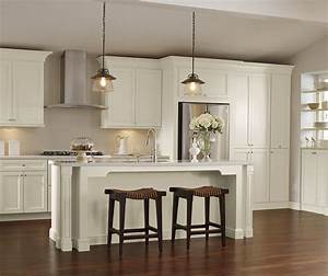 Off white kitchen cabinets schrock cabinetry for Kitchen colors with white cabinets with fat chef wall art