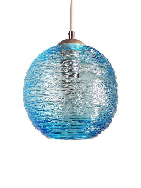 spun glass globe pendant light  aqua  rebecca zhukov