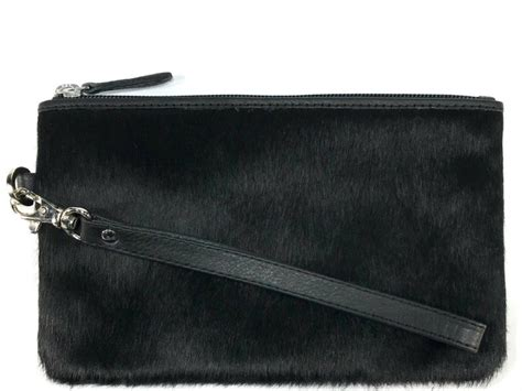 Black Hide/black Leather Clutch
