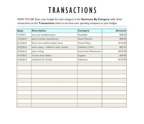 church musician   program budget worksheet