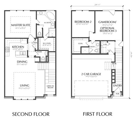 townhomes with master bedroom on floor 2 story townhouse floorplan in dallas 21168