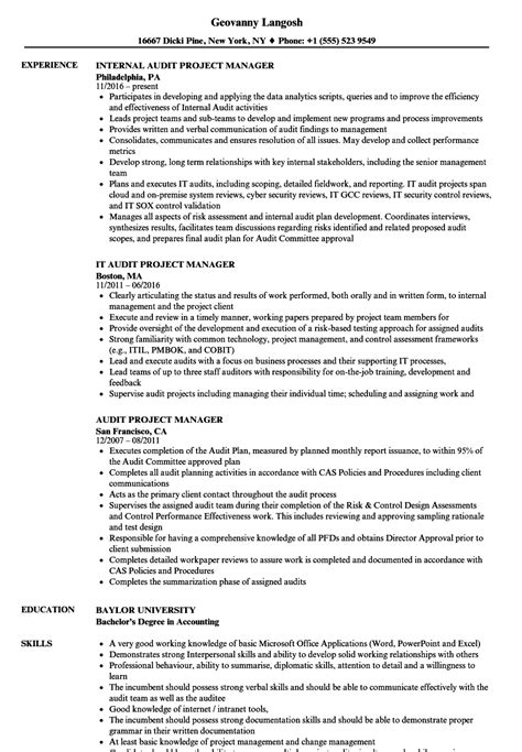 Project Manager Resume by Audit Project Manager Resume Sles Velvet