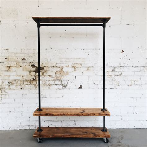 wooden clothes rack rustic industrial reclaimed wood retail rolling garment