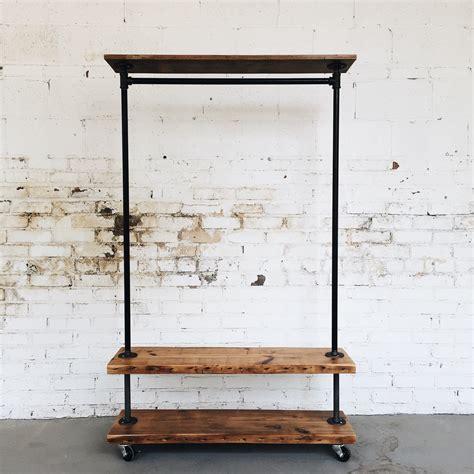 industrial clothing rack rustic industrial reclaimed wood retail rolling garment