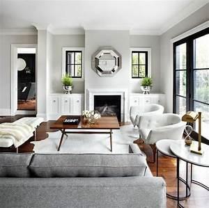 un salon en gris et blanc c39est chic voila 82 photos qui With tapis de marche avec meuble salon canape fauteuil