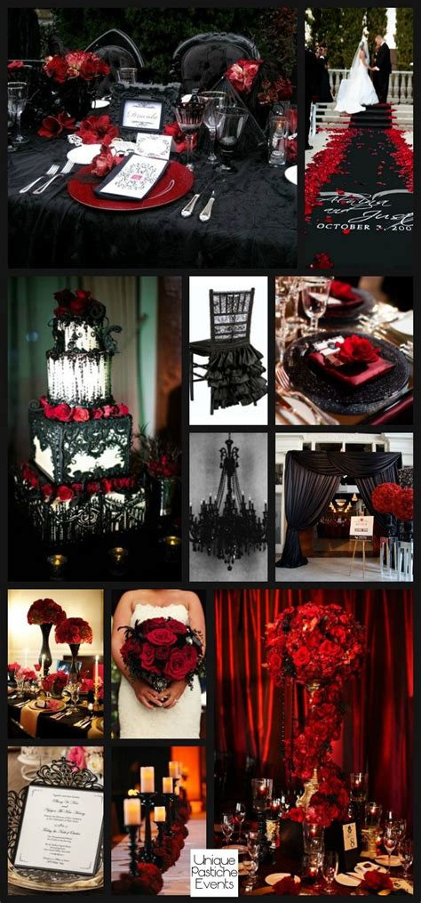 glamorous gothic halloween wedding in black and red