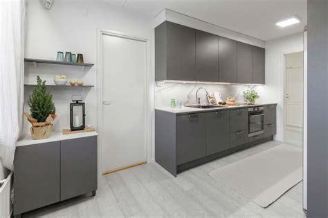 miinus eco friendly matte grey modern galley kitchen