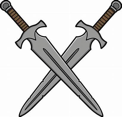 Crossed Vector Swords Sword Cartoon Illustration Clip