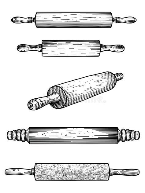 cuisine marbre noir goupille marbre bois silicone pâtisserie cuisine outil ustensile vecteur dessin