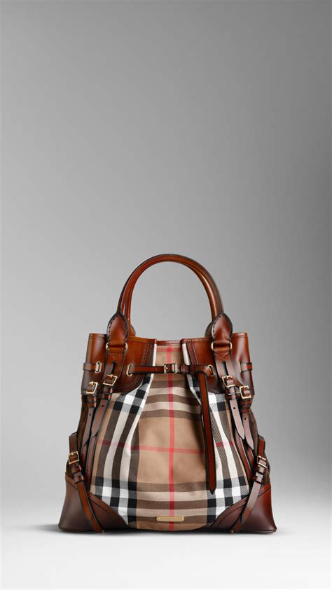 lyst burberry large bridle house check whipstitch tote bag  brown
