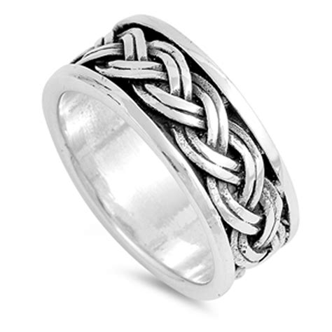 sterling silver womans mens braided knot ring promise
