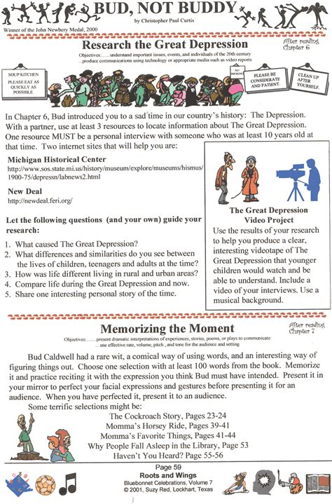 bud not buddy worksheets sle page from wings bud not buddy unit