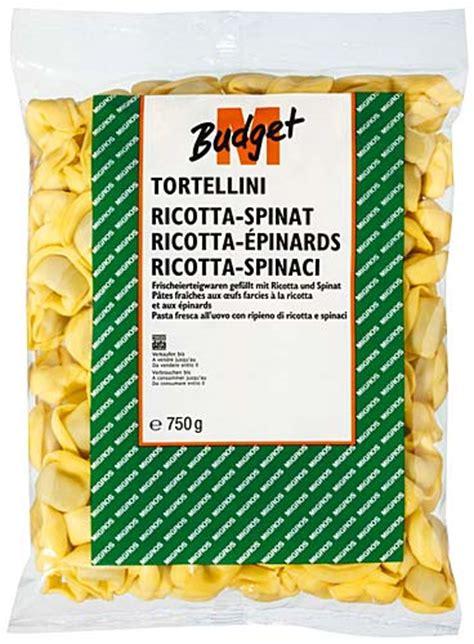 tortellini farcies 224 la ricotta et aux 233 pinards migros budget m budget 100g gt calories 219