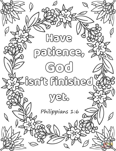 patience god isnt finished  coloring page