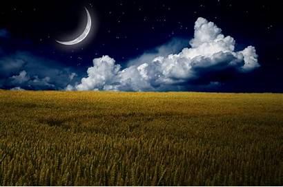 Sky 4k Night Photoshop Grass Clouds Moon