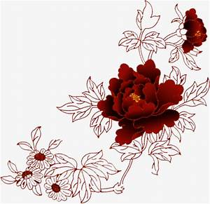 Chinese red flowers line drawing material, China Red ...