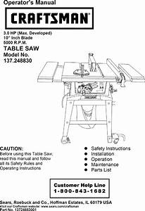 Craftsman 137248830 User Manual 10 Table Saw Manuals And
