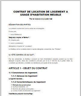 contrat location chambre bail location appartement meublé immobilier en image