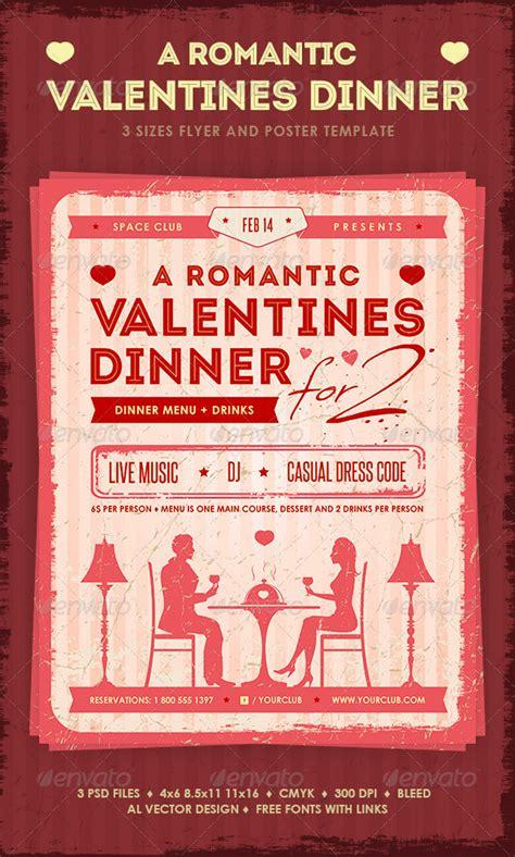romantic valentines dinner poster  flyer  mihaai