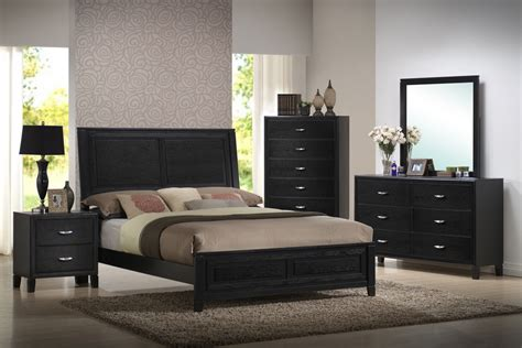 $1,299 Baxton Studio Eaton Black Wood 5 Piece Queen Modern