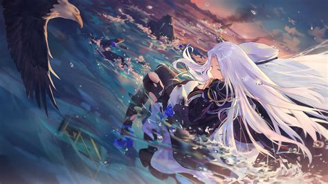 wallpaper anime girls azur lane bald eagle water