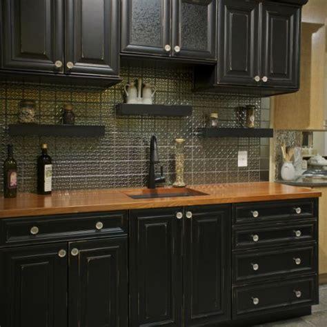 black kitchen cabinets  wood countertops kitchen