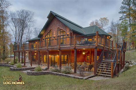 log cabin home exterior lakeside stairs