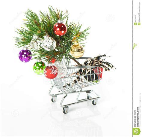shopping cartoon with christmas tree royalty free stock