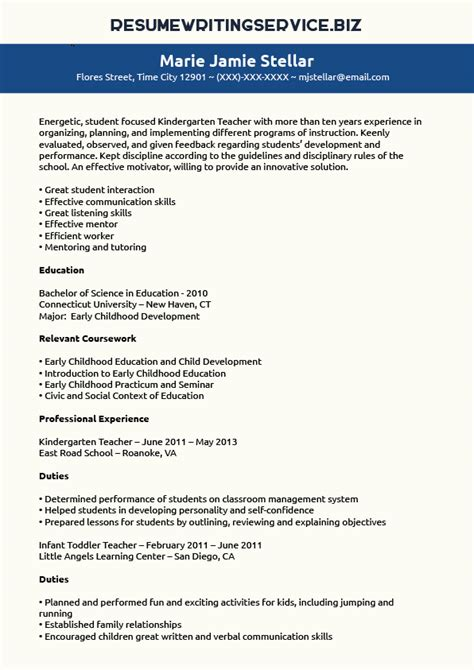 Kindergarten Resume by Kindergarten Resume Sle Resume Writing Service