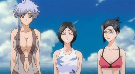 xbooru anime beach bleach breasts cleavage glasses isane