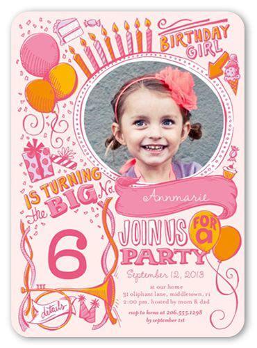 girls birthday invitations festive doodles rounded