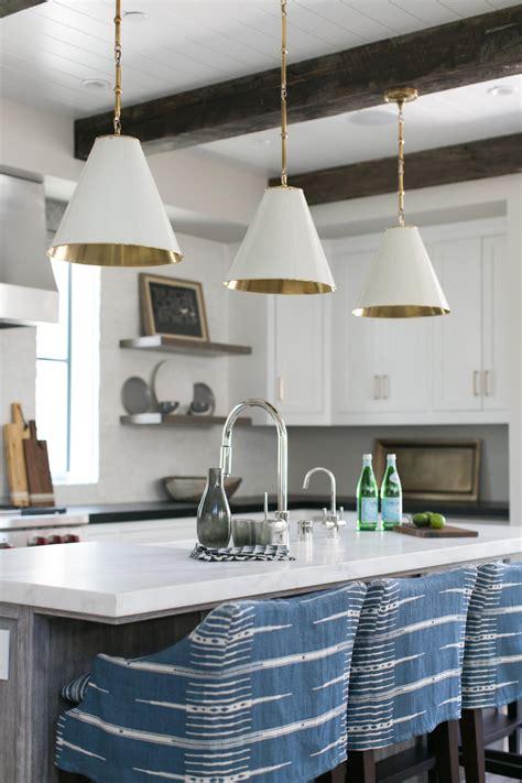 transitional white kitchen  cone pendant lights hgtv
