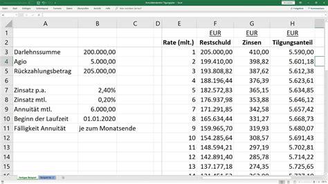 tilgungsplan fuer annuitaetendarlehen berechnen vorlage