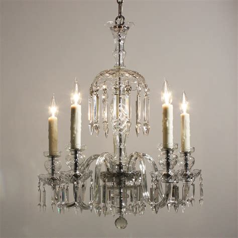 stunning antique five light glass chandelier