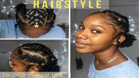 Braided Cornrow Hairstyle For Short Natural Hair || Twa