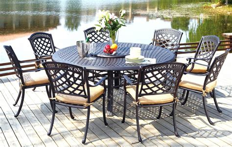 patio furniture dining set cast aluminum 71 quot table